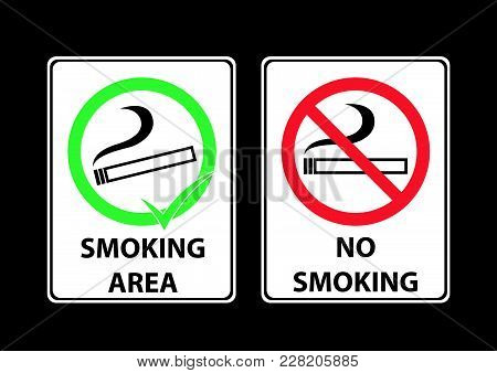 Smoking Area Accept And Decline Sign Area With Illistration