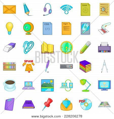 Job Management Icons Set. Cartoon Set Of 36 Job Management Vector Icons For Web Isolated On White Ba