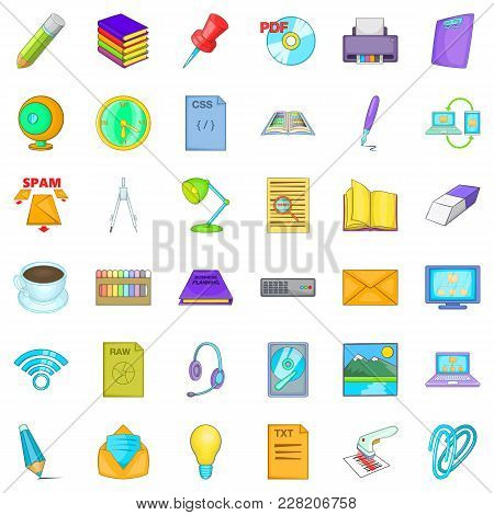 Organization Of Work Icons Set. Cartoon Set Of 36 Organization Of Work Vector Icons For Web Isolated