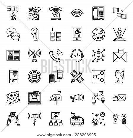 Communication Evolution Pixel Perfect Outline Icon, Isolated On White Background