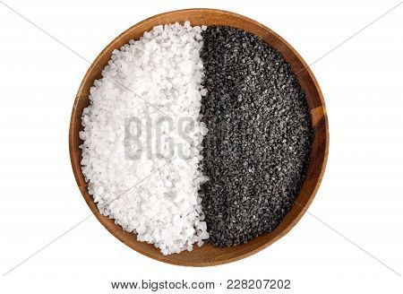 Two Kinds Of Salt. White Sea Salt And Black Himalayan Salt In A Wooden Bowl Isolated On White Backgr
