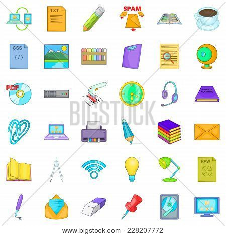 Place Of Work Icons Set. Cartoon Set Of 36 Place Of Work Vector Icons For Web Isolated On White Back