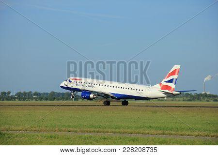 Amsterdam The Netherlands - June 9th, 2016:g-lcyn Ba Cityflyer Embraer Erj-190sr  Takeoff From Polde