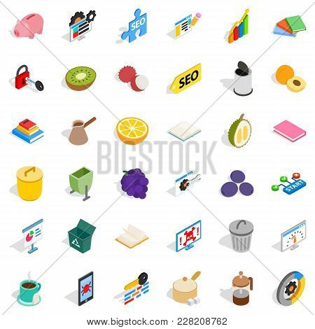 Set Task Icons Set. Isometric Set Of 36 Set Task Vector Icons For Web Isolated On White Background