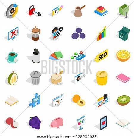 Labor Task Icons Set. Isometric Set Of 36 Labor Task Vector Icons For Web Isolated On White Backgrou