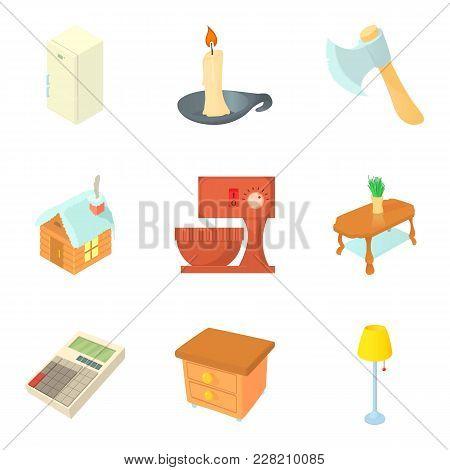 Neighbourhood Icons Set. Cartoon Set Of 9 Neighbourhood Vector Icons For Web Isolated On White Backg