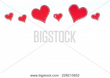 Red Paper Hearts Isolated On White Background. Valentine's Day. Copy Space. Top View.