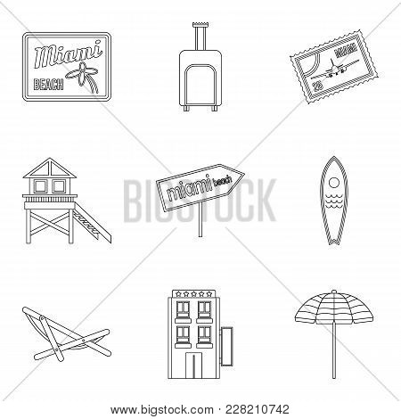 Water Paradise Icons Set. Outline Set Of 9 Water Paradise Vector Icons For Web Isolated On White Bac