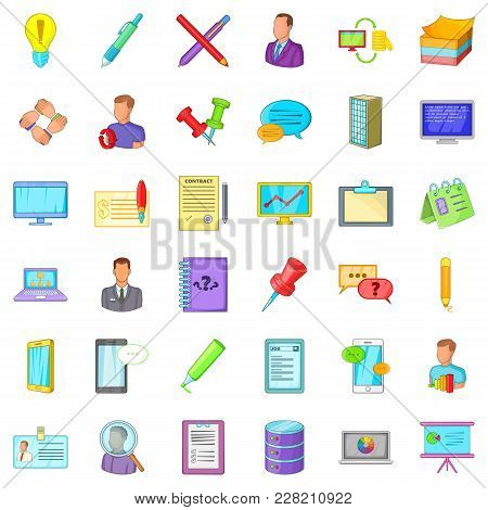 Logging Icons Set. Cartoon Set Of 36 Logging Vector Icons For Web Isolated On White Background