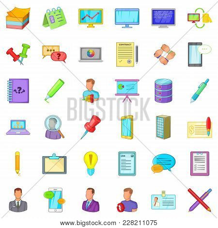 Bookkeeping Icons Set. Cartoon Set Of 36 Bookkeeping Vector Icons For Web Isolated On White Backgrou
