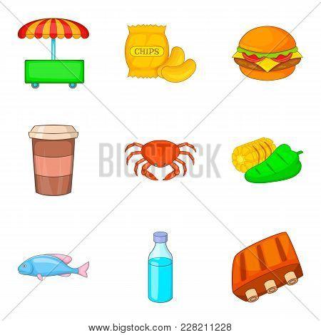 Sushi Icons Set. Cartoon Set Of 9 Sushi Vector Icons For Web Isolated On White Background