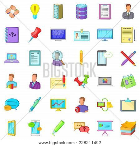 Accounting Service Icons Set. Cartoon Set Of 36 Accounting Service Vector Icons For Web Isolated On