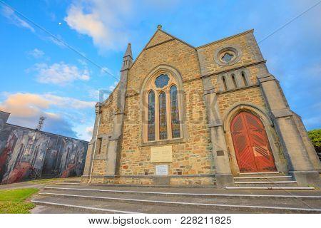 Albany, Australia - Dec 28, 2017: Facade Of Scots Uniting Church Or Scots Presbyterian Church, In Vi