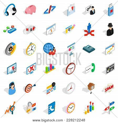 Construction Site Icons Set. Isometric Set Of 36 Construction Site Vector Icons For Web Isolated On