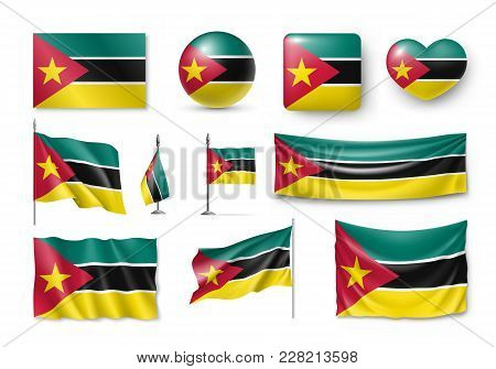 Set Mozambique Flags, Banners, Banners, Symbols, Realistic Icon. Vector Illustration Of Collection O