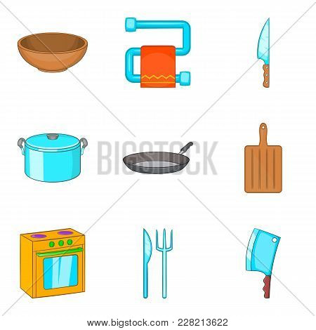 Personal House Icons Set. Cartoon Set Of 9 Personal House Vector Icons For Web Isolated On White Bac
