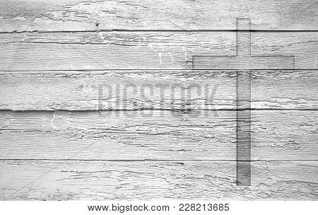 White Old Christian Religion Symbol Cross Shape As Sign Of Belief On A Grungy Wood Textured With Cop
