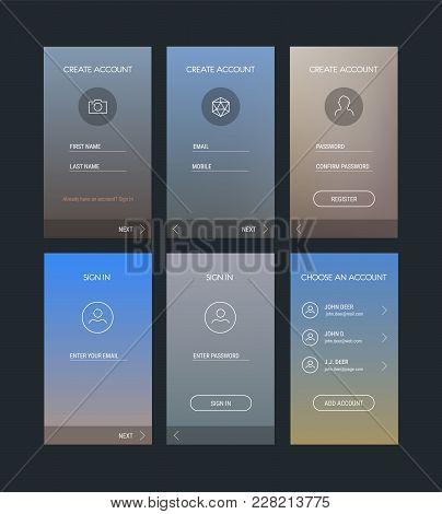 Trendy Responsive Mobile Ui Templates Of Login And Registration Mobile App Template With Trendy Blur