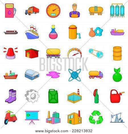 Petrochemical Industry Icons Set. Cartoon Set Of 36 Petrochemical Industry Vector Icons For Web Isol