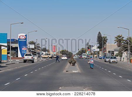Swakopmund, Namibia-november 08, 2017: Pedestrians And Cars On The Sam Nujome Ave In Swakopmund, Nam