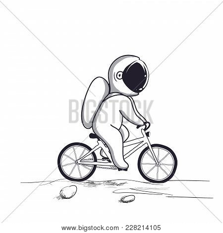 Funny Astronaut Rides On Bicycle On Moon.hand Drawn Style.childish Vector Illustration