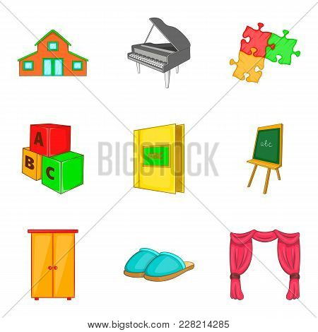 Household Property Icons Set. Cartoon Set Of 9 Household Property Vector Icons For Web Isolated On W