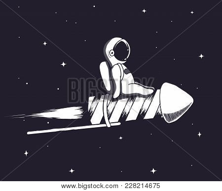 Baby Spaceman Flying On Firework Rocket In Outer Space.childish Vector Illustration.prints Design