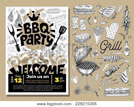 Bbq Party Food Poster. Barbecue Template Menu Invitation Flyer Design Elements Spice, Drinks, Hand D