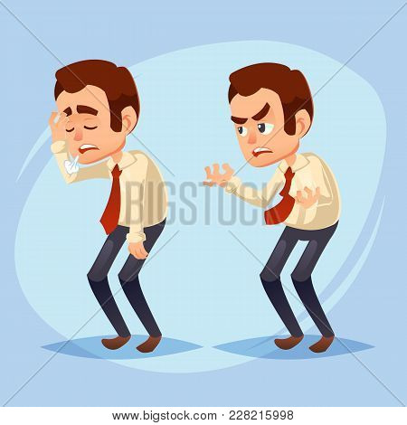 Cartoon Colorful Vector Illustration Of A Handsome Young Businessman Unhappy, Dissatisfied, Snuffy,