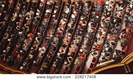 New York, Usa- December 2017: Top View Of The Spectators Of The Theater Before The Performance, Wide