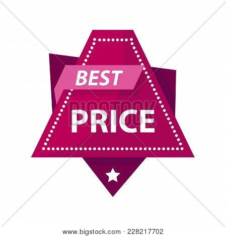 Best Price Bright Promotional Label Of Triangular Shape. Huge Sale Advertisement Logotype With Small