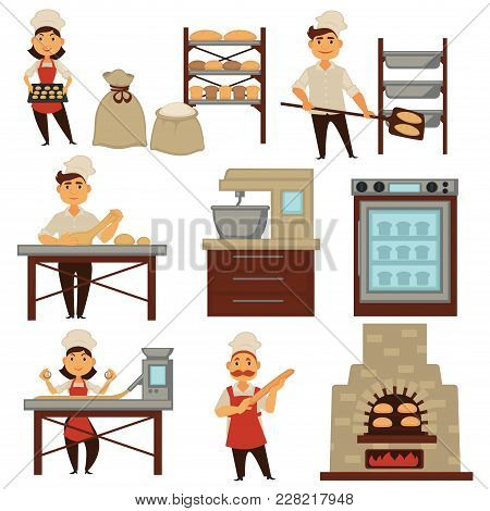 Baker In Bakery Shop Baking Bread Isolated Profession People Icons. Vector Set Of Woman And Man Bake