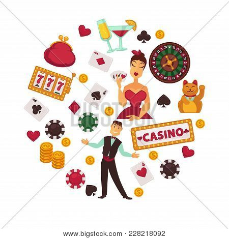Casino Poker Game And Jackpot Win Symbols Poster. Vector Design Of Casino Croupier Playing Cards, Ro