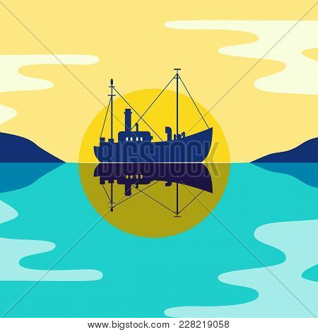 Commercial Fishing Trawler Icon. Ship Silhouette On The Calm Sea Water. Side View. Fishermen Boat In