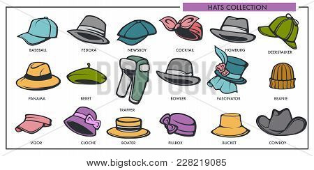 Woman And Man Hats Models Collection Of Retro And Modern Fashion Type. Vector Female And Male Headwa