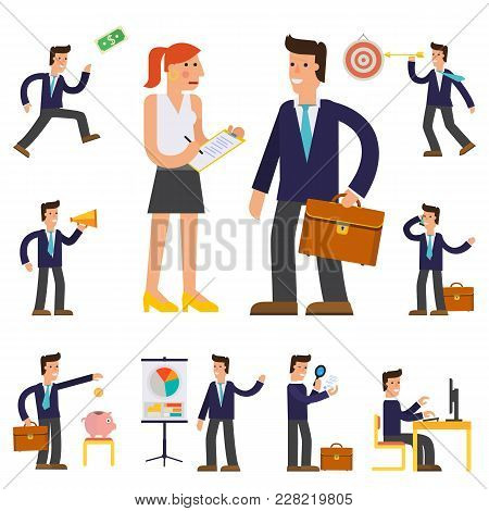 Vector Concept Cartoon Character Illustrations Businessman Presentating A Report, Striking A Target,