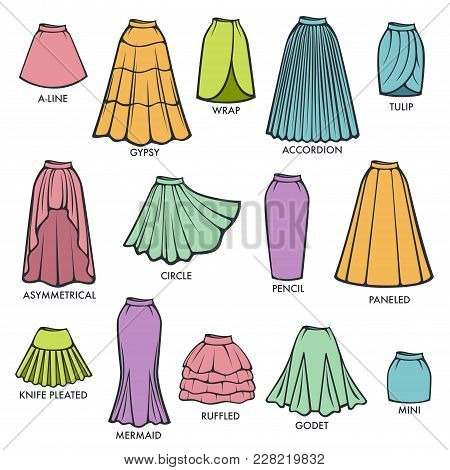 Woman Skirts Style Models Collection. Vector Isolated Line Icons Of Retro And Modern Fashion Dress H