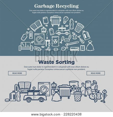Garbage Recycling And Waste Sorting Promotional Internet Pages. Broken Appliances, Cracked Glass, Fo