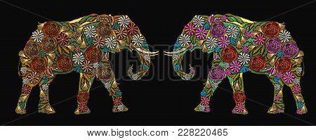 Embroidery Elephants. Classical Embroidery Flower Indian Elephants. Indian Ornaments Animals Clothes