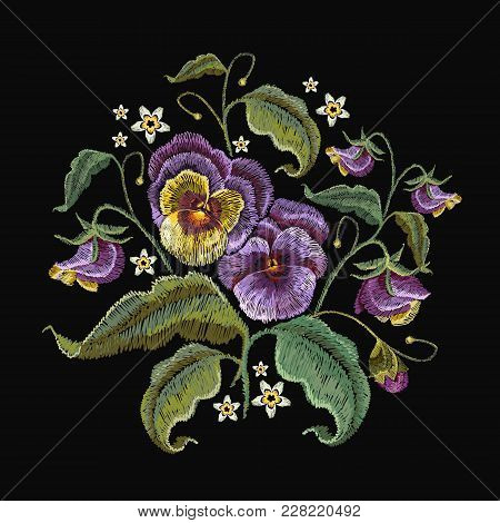 Violets Flower Embroidery. Fashionable Template Design Of Clothes. Classical Embroidery Beautiful Fl