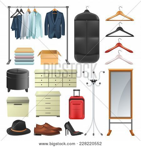 Wardrobe Icons Collection Of Dressing Room Equipment, Vector Isolated Fat Woman And Man Clothes On H