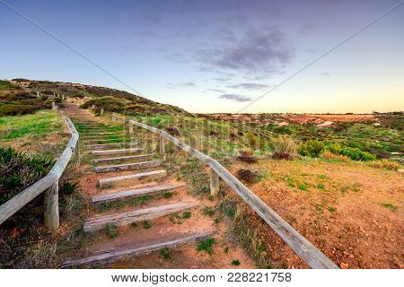 Pathway With Wooden Stairs At Hallett Cove Boardwalk At Dusk, South Australia