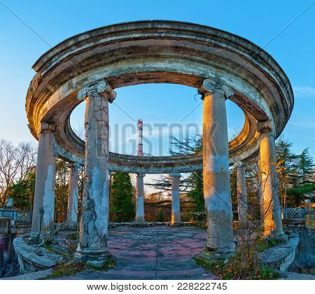 Rotunda Of The Abandoned Building Of The Former Restaurant On The Top Of Mount Akhun In Sunny Autumn