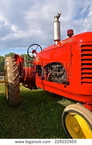Rollag, Minnesota, Sept 2, 2017:  Themassey Harris Tractor Is Displayed At The Annual Wcstr Farm Sho