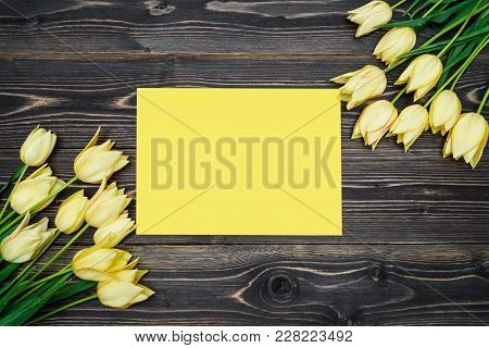 Spring Background With Two Bouquet Of Yellow Tulip Flowers And Blank Sheet Of Paper, Copy Space. Fla