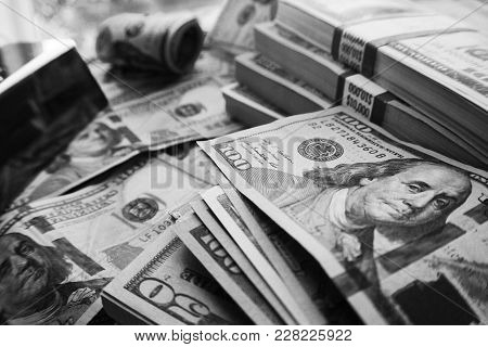 Money In Black & White High Quality Stock Photo