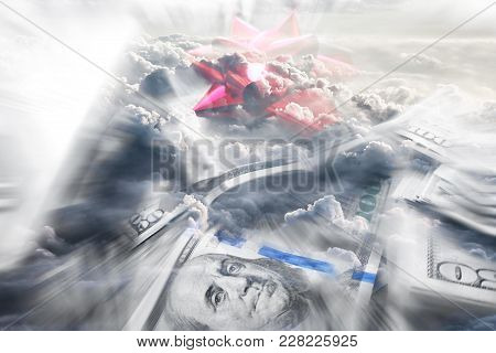 Financial Freedom With Hundreds & Clouds High Quality Stock Photo