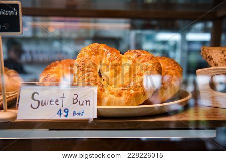 Sweet Bun And Croissant And Bread And Bun On Shelf Show For Sale
