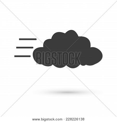 Cloudy And The Wind Icon. Flat Vector Illustration In Black On White Background.
