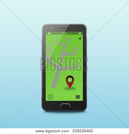 Vector Flat Linear Illustration In Blue Colors, Screen Of The Mobile Phone City Map - Gps Searching
